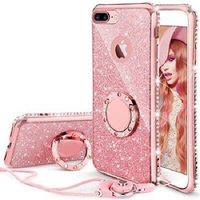 For iPhone 8 Plus, iPhone 7 Plus Glitter Cute Phone Case Girls Kickstand Pink