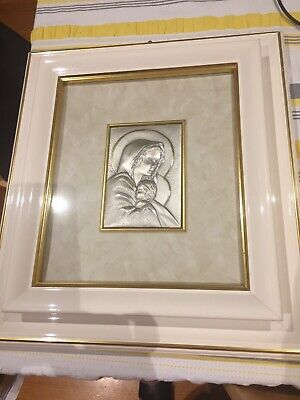 VINTAGE RELIGIOUS Picture Virgin MARY with Jesus FRAMED From Italy