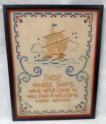 Those Whose Ships Have Ne'er Come In Welcome Framed Finished Embroidery