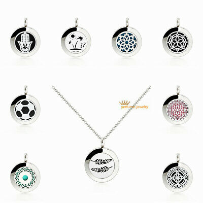 Aroma Diffuser 20mm Pendant Necklace Lockets Perfume Essential Oil Aromatherapy