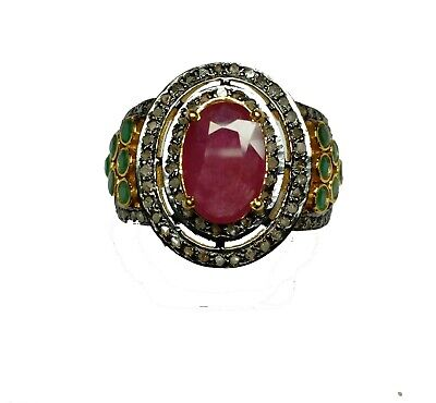 Antique 925 Silver Ruby Emerald Ring With Diamond Beautiful Handmade Design Ring