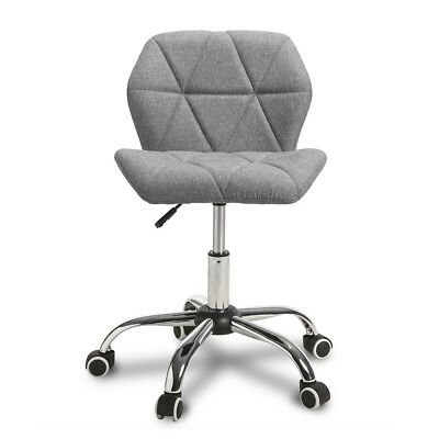 Fabric Grey Adjustable Cushioned Computer Desk Office Chair Swivel Chrome Leg