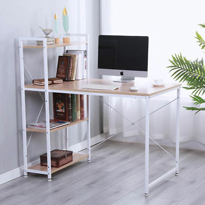Metal Frame PC Computer Desk Table Home Office Study Workstation with Bookshelf