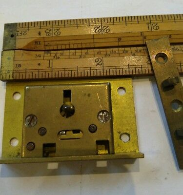 "Solid brass half mortice 2 lever chest lid lock with key 1½ x 2½"".....old stock."