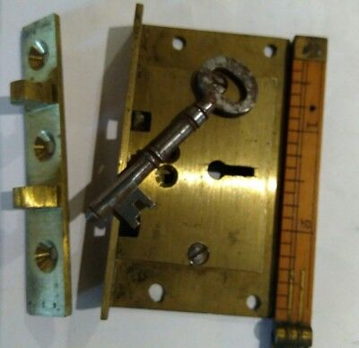 "Solid brass half mortice 3 lever desk lid lock with key 1⅝ x 2⅞""....old stock."