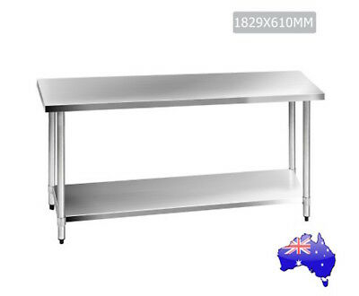 Large Stainless Steel Kitchen Work Bench Commercial 304 Food Prep 1829x610mm