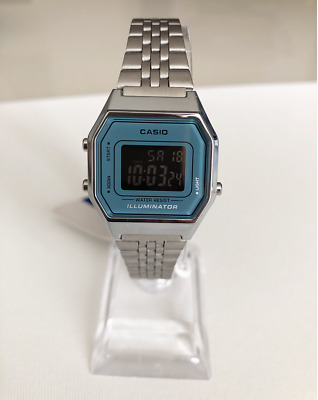 CASIO Retro Classic Unisex Digital A168WA-1YES Watch Blue Face Silver Strap