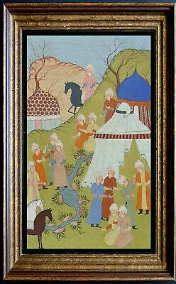 Old Persian Double Sided Manuscript Calligraphy & Painting Antique Piece Ii.