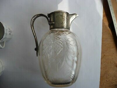 Nice quality antique  silver plate plated mounted glass claret jug. Perfect