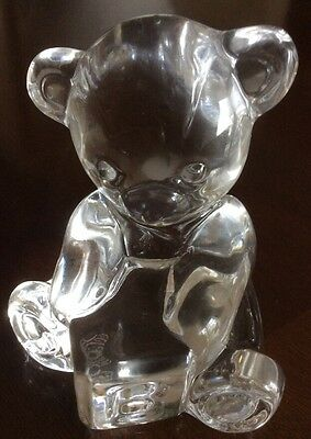 Waterford Crystal Teddy Bear with Alphabet Block Figurine Paperweight signed