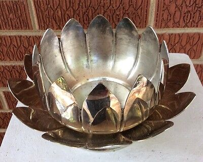 LEONARD silverplate 2 PC LOTUS BLOSSOM BOWL SET