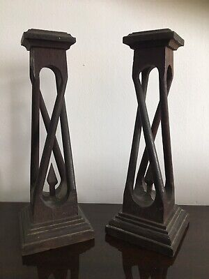 Art Nouveau Carved Oak Stands -Pair