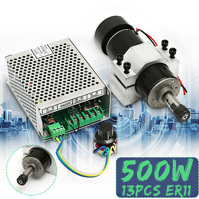 220V CNC 500W Air Cooling Spindle Motor + 52mm Clamps + Speed Governor ER11