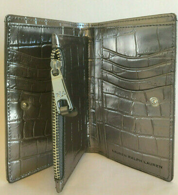 2bd8c1657d RALPH LAUREN Pewter Leather Card Holder & Coin Purse + Protective Cover GIFT