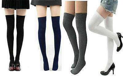 Girls Women Over The Knee Thigh High Stretch Cotton Socks Black White Navy Grey