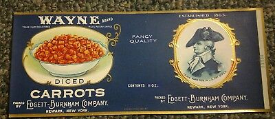 FAULTLESS CARROTS Mad Anthony WAYNE Can Label 1910-1920 ORIGINAL Newark NY