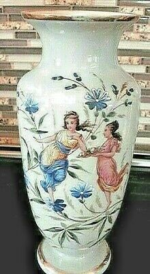 Rare Antique Clam Broth Bristol Glass Hand Painted Enamel Fairy & Floral Vase