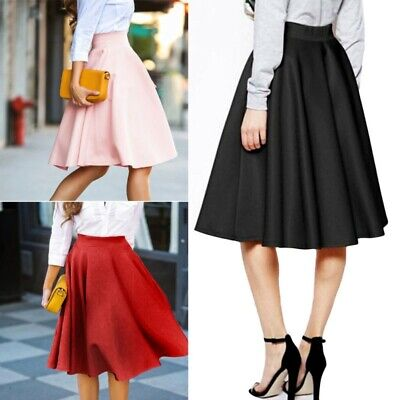 Fashion Vintage Women High Waist Skater Flared Pleated Swing Stretch Skirt Dress