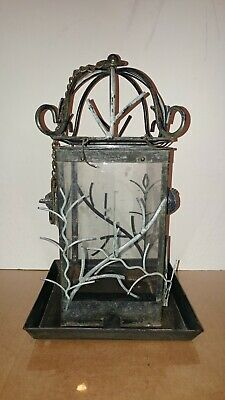 "Vintage Ornate Cast Or Wrought Iron Bird Feeder Antique 14"" Rare Beautiful"