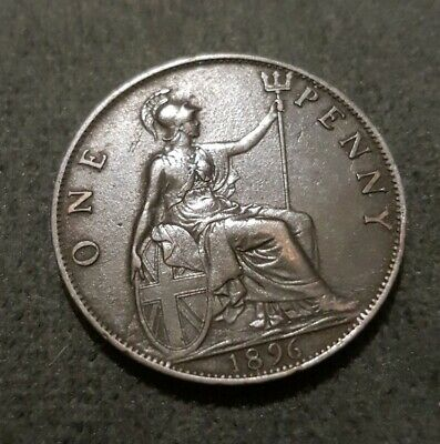 1896 Great Britain One Penny Coin XF
