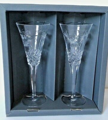 Waterford Crystal Peace Toasting Flute Pair 104972 Millennium Collection