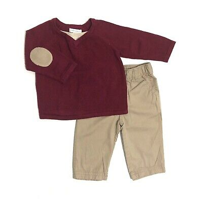 FIRST IMPRESSIONS Baby Boy 3-6 month Red Patch Elbow Sweater Top Pants 2pc Set