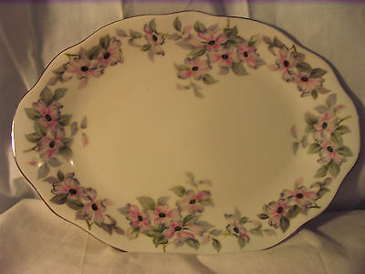 """Bellaire China Treelis 12"""" Oval Serving Platter Pink Gray Flowers Japan"""