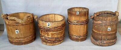 ANTIQUE WOODEN BUCKETS with wood bark bands / PRICE 1 item! -Select