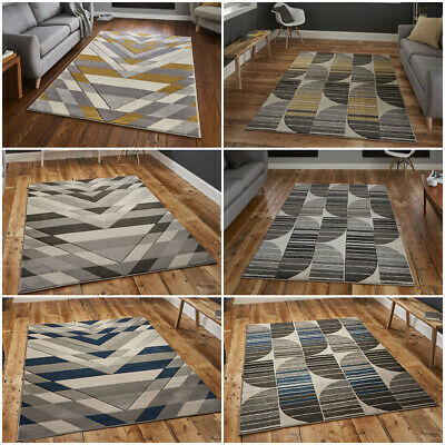Modern Small Extra Large Multi Colour Yellow Ocher Grey Wool Like Think Rugs