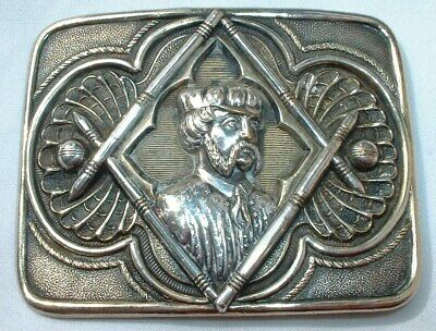 Rare C19th Circa 1870 Silver Plated Cricket Player Belt Buckle - NO RESERVE