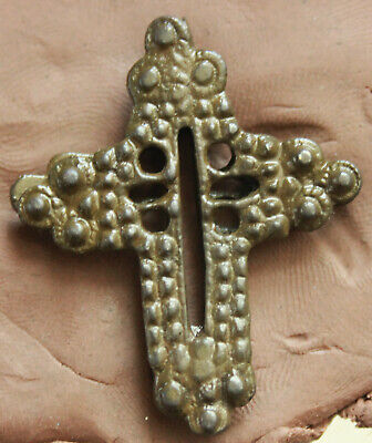 Ancient Late Byzantine Reliquary Bronze Cross  L=45x32x4mm 11gr