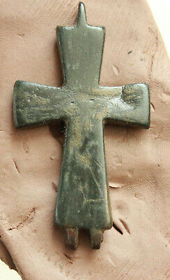 Ancient Byzantine Reliquary Bronze Cross  L=62x32x4mm 13gr
