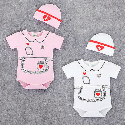 New Baby Girl Nurse Romper With Hat Newborn Summer Short Sleeve Outfit Set