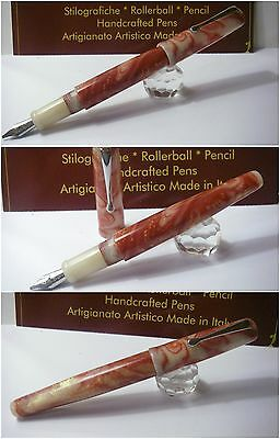 Celluloid Copper Ivory Blancheur  Fountain Pen - Stylo Hand Made