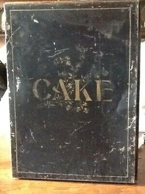 Antique Vintage TOLEWARE Hand Painted Tin Cake Container