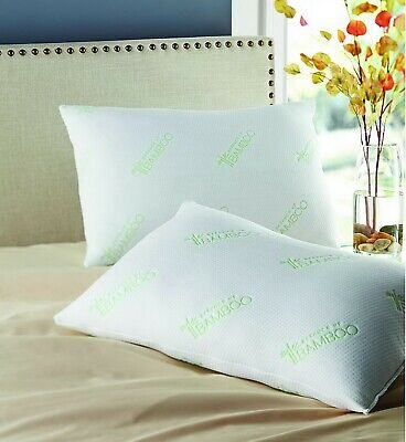 """Two Pack Bamboo Polyfill Pillows Super Standard Size 20"""" x 28"""" Hypoallergenic"""