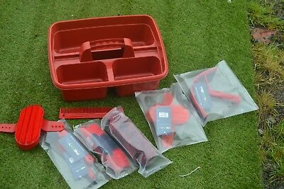GROOMING KIT TRAY AND KIT NEW WITH EXTRAS red  8 ITEMS ALL NEW IN STRONG KITBOX