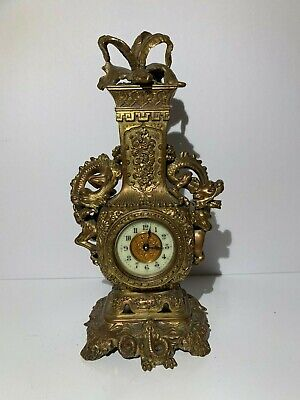 Antique Old Estate 19th C. French Chinese Bronze Copper Dragon Clock