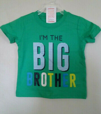 """~NEW~CARTERS """"I'M THE BIG BROTHER"""" Green Shirt Sz.18 MonthsToddler Short Sleeve"""
