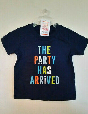 New! CARTERS  12 Months~THE PARTY HAS ARRIVED~Toddler Short Sleeve~NAVY