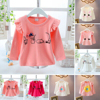 Spring T-Shirt Kids Top Blouse Tee Fall Summer Girls Child Cotton Animal Print