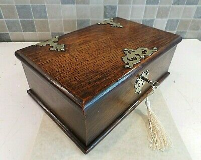 VICTORIAN 19thC BRASS MOUNTED OAK BOX WITH VARIOUS SIZE COMPARTMENTS- LOCK & KEY