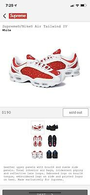 """official photos 4c843 07f5e Supreme x Nike Air Tailwind IV 4 """"Red White"""" (Size 11)"""