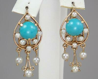 Wow Antique Victorian 14K Gold Turquoise Cabochon Pearl Teardrop Dangle Earrings