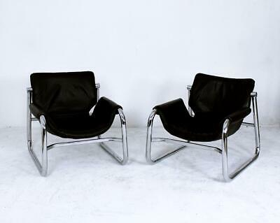 Pair of Maurice Burke Black Leather Alpha Sling Chairs by Pozza Brazil, 1960s