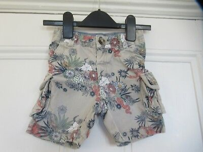 12-18m: Quirky cargo shorts: Beige + snake/scorpion/flowers: M&S: Good condition