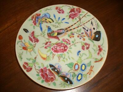 A Good Chinese Porcelain Famille Rose/celadon Ground 19Cm Plate, 19Th C.