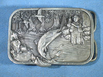 Vintage 1982 Siskiyou M-10 Silver Tone Fly Fishing Belt Buckle Made in USA