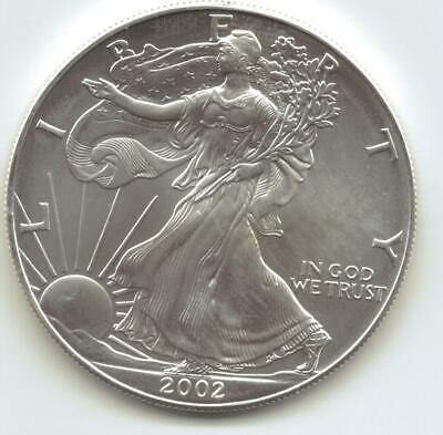 2002  Uncirculated American Silver Eagle  1-Troy oz. .999 Silver. Eagle is Whit2