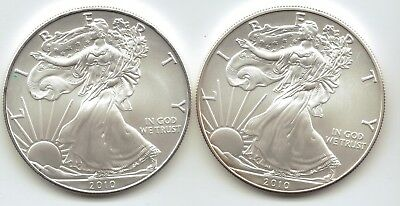 2-2010 Uncirculated American Silver Eagle  1-Troy oz. .999 Silver.